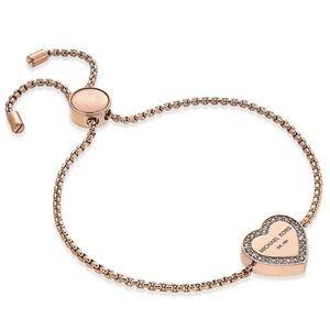 MK Heritage Pave Heart Slide Bracelet NWT